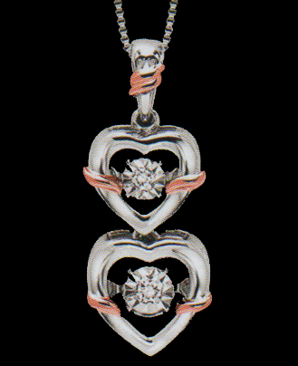 Diamond 0.05ctw Double Heart Rhythm of Love Pendant in Sterling Silver with 10K Gold Accents-0