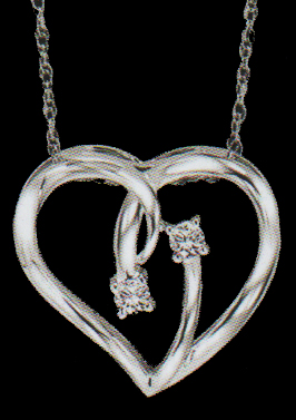 Two Diamonds 0.62ctw Set in a Sterling Silver Heart Pendant-0