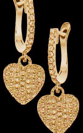 Yellow Tone Sterling Silver Crystal Heart Earrings -0