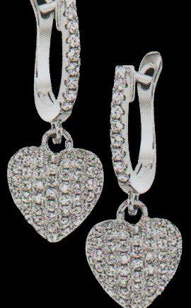 Crystal Heart Dangle Earrings in Sterling Silver-0