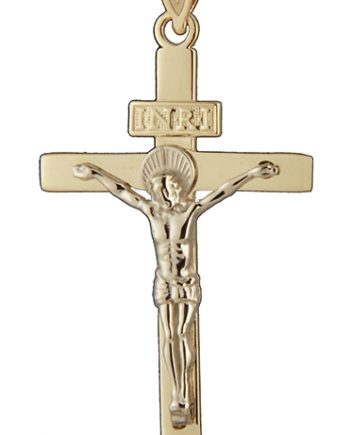 INRI Crucifix Charm in 14K Two Tone Gold-0