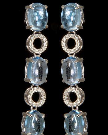 Blue Topaz and Diamond Earrings in 14K White Gold-0