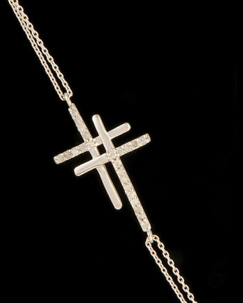 Diamond (0.15ctw) Double Cross Bracelet in 14K White Gold-0