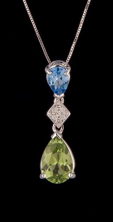Diamond 004ctw blue topaz and peridot pendant in 14k white gold diamond 004ctw blue topaz and peridot pendant in 14k white gold aloadofball Gallery