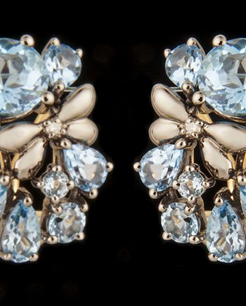 Diamond (0.03ctw) and Various Sized Blue Topaz Omega Back Earrings-0