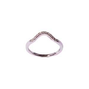 Curved Diamond (0.04ctw) Wedding Band in 14K White Gold