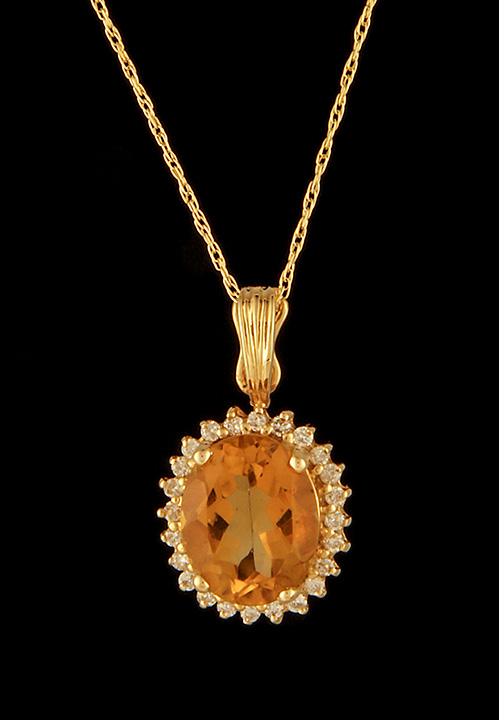 Citrine and diamond pendant in 14k yellow gold brownes jewelers citrine and diamond pendant in 14k yellow gold 0 aloadofball Images