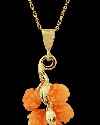 Rose Coral Pendant in 14K Yellow Gold-0