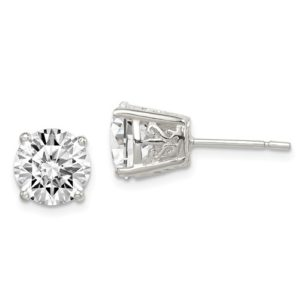 Cubic Zirconium Studs 9mm in Sterling Silver