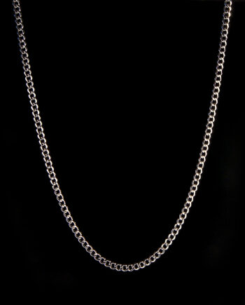 "Curb Chain Semi-Solid 24"" 8.2g 14K White Gold-0"
