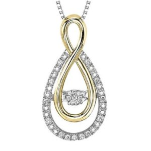 Rhythm of Love Diamond 0.09ctw Drop Pendant in 10K Yellow Gold and Sterling Silver
