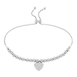 Bead Heart Bracelet in Sterling Silver
