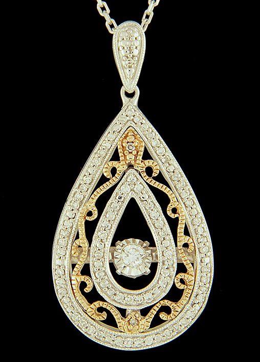 Rhythm of love diamond 025ctw filigree pendant in sterling silver rhythm of love diamond 025ctw filigree pendant in sterling silver and 14k gold aloadofball Image collections