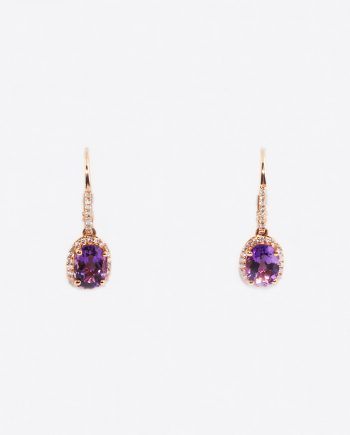 Amethyst & Diamond (0.25ctw) Leverback Dangle Halo Earrings in 14K Gold