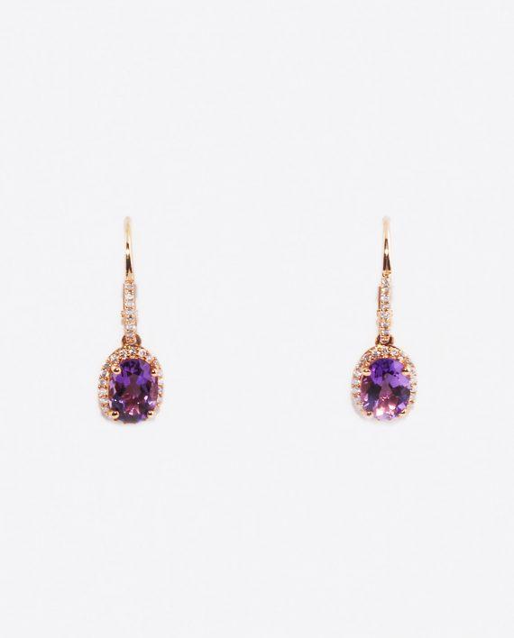 Amethyst & Diamond (0.25ctw) Leverback Dangle Halo Earrings in 14K Gold