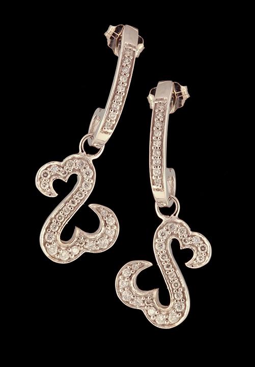 Jane Seymour Open Heart Dangle Earrings 0 50ctw In 14k White Gold Browne S Jewelers