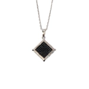 Black and White CZ Micro Pave Pendant in Sterling Silver