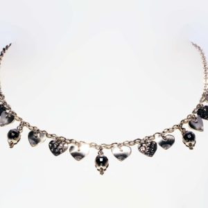 Necklace with Hearts and Black Beads in Sterling Silver