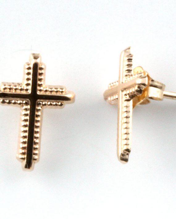 Gold Cross Post Earrings