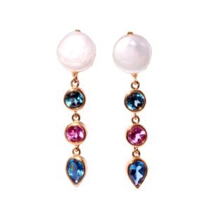 Sterling Silver Multi Color Earring